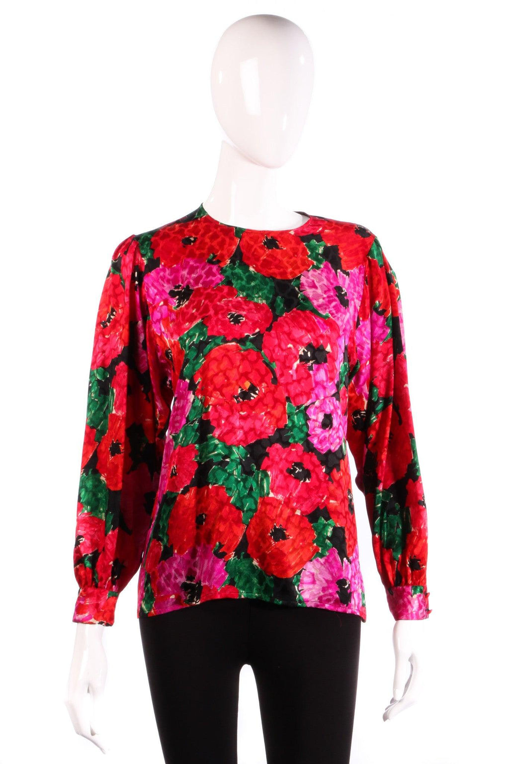 Jaeger Silk Blouse Pink and Red Floral UK Size 12/14
