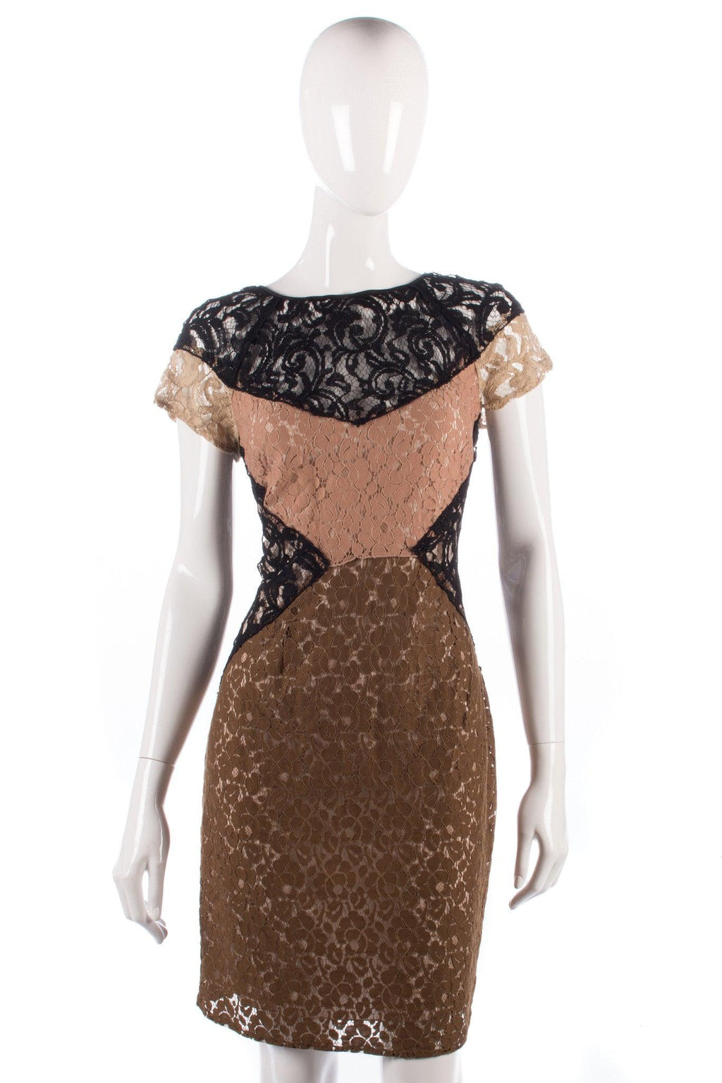 Hoss iItroqia lace black cream and brown dress size 14