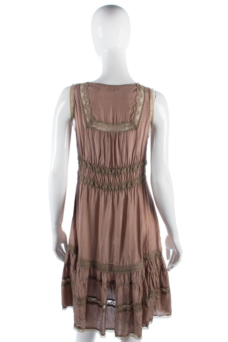 Miss Selfridge silk and lace dress light brown size 8