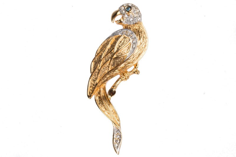 Parrot shaped gold tone diamante brooch