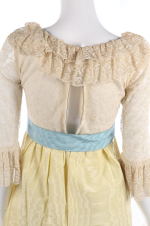 Belinda Bellville Vintage Dress with Yellow Skirt and Cream Lace Top. UK 4