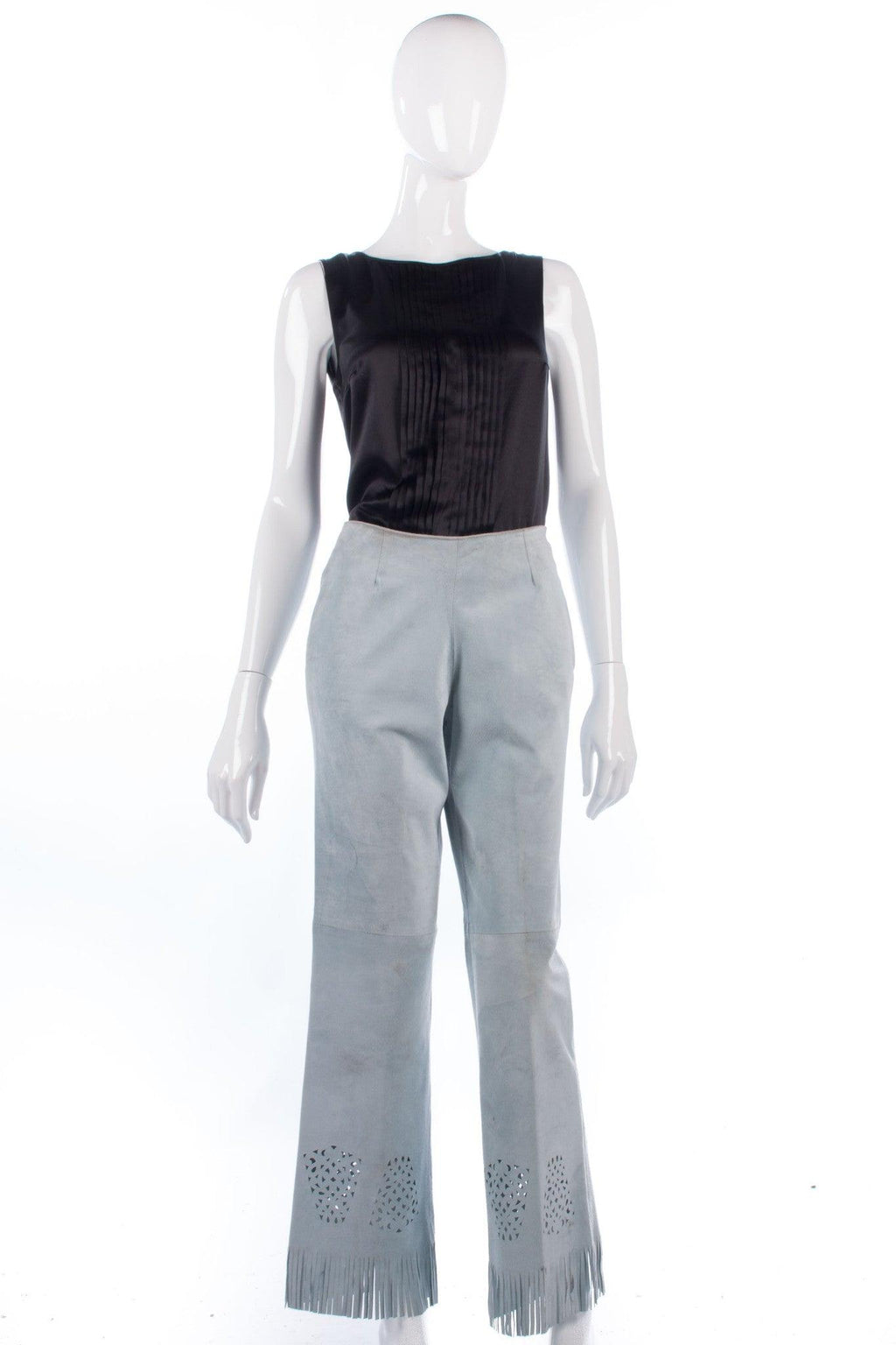 Pale blue designer suede fringed trousers, made in Italy. size 8