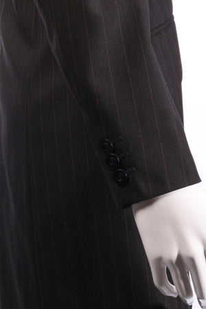 Austin Reed Long Jacket Wool Black with Red Pinstripe UK Size 12