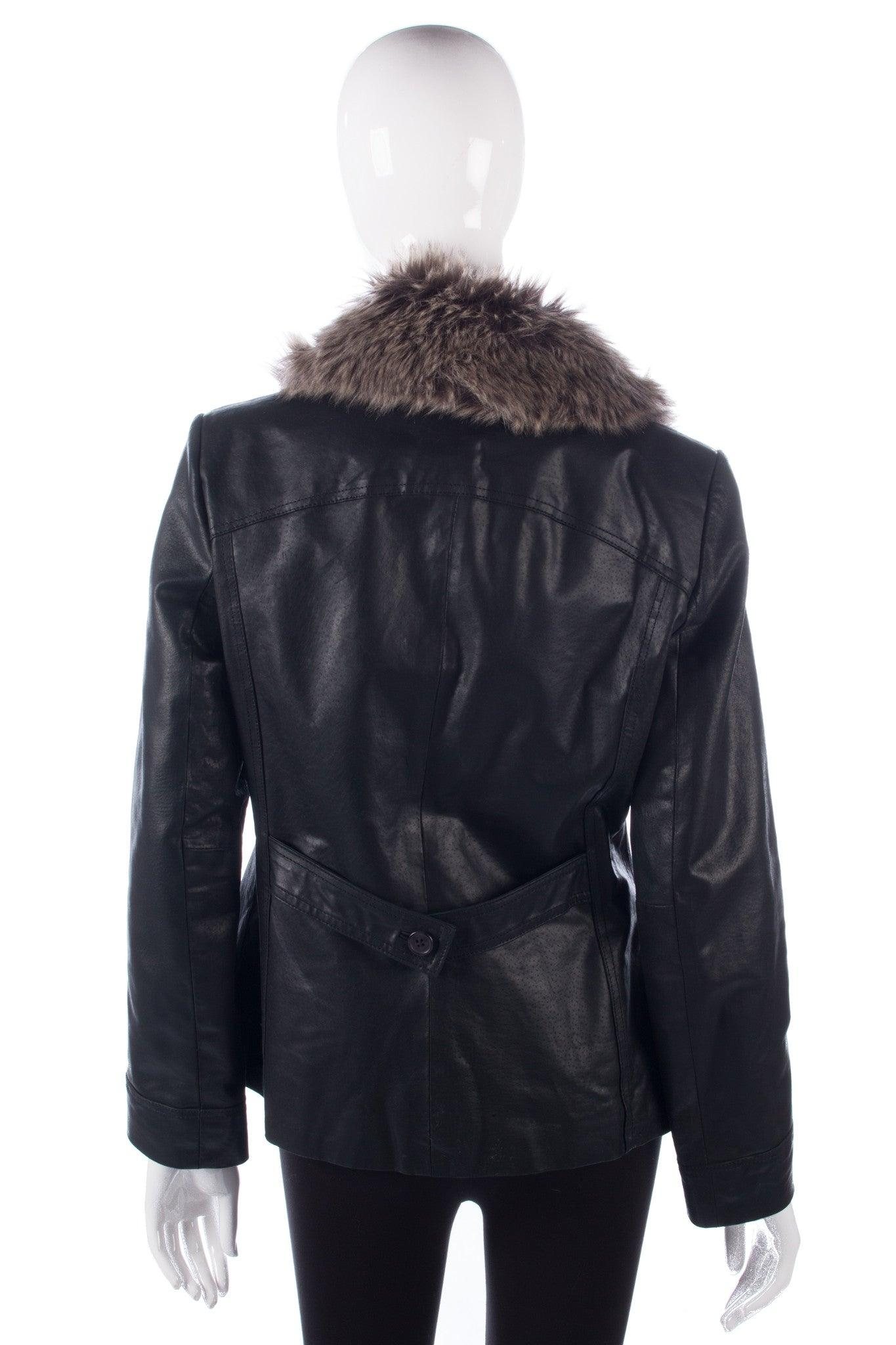 69e674ece Wallace Sacks Leather Jacket with Faux Fur Collar Black UK Size 12 ...