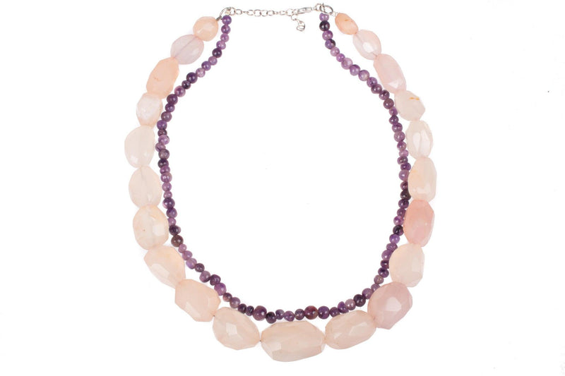 Rose Quartz and amethyst necklace. Simply stunning.