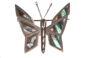 Silver and Abalone Mexican butterfly brooch