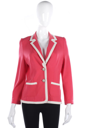 Kate Cooper pink summer jacket with cream piping size 12