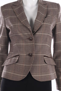Pilot brown checked country jacket size 12