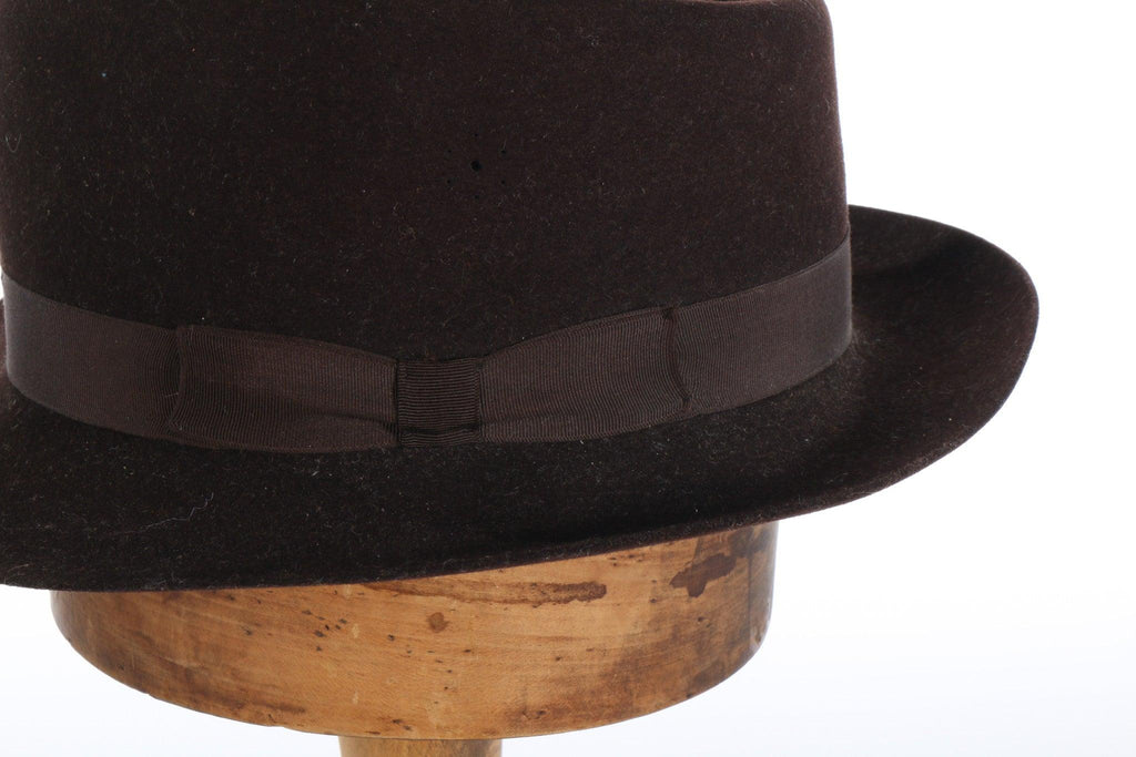 Dark brown trilby hat side