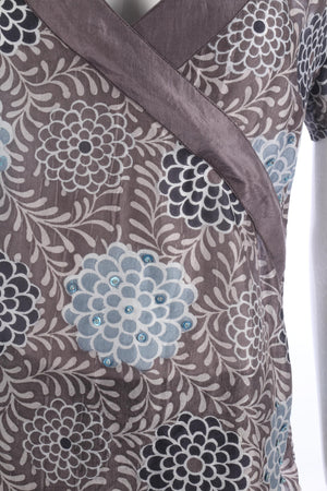 Norman Longstaff Silk Top Grey and Teal Size M