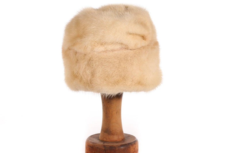 Cream winter fur hat