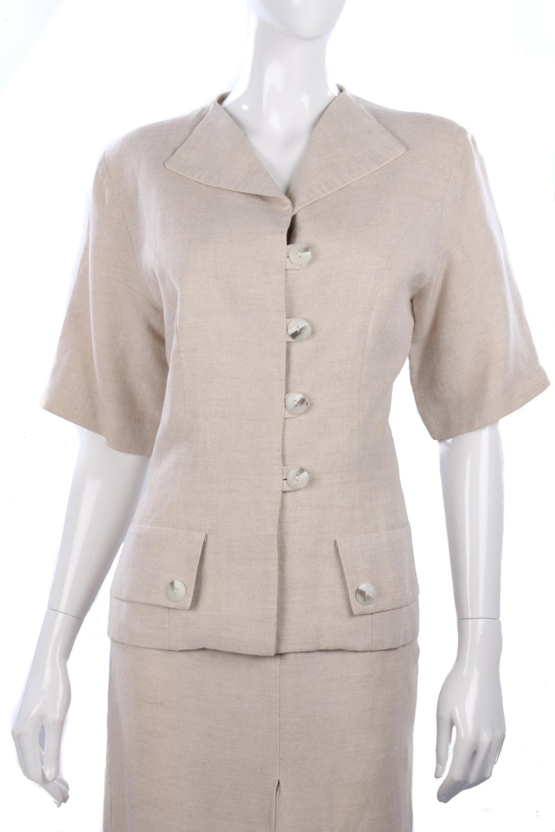 Linen cream skirt suit by Yellow Hammer, size 10