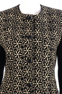 Jaeger black and gold floral jacket detail