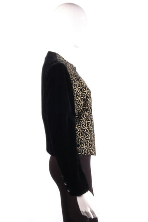 Jaeger Vintage Velvet Jacket Black with Gold Embroidery UK Size 10