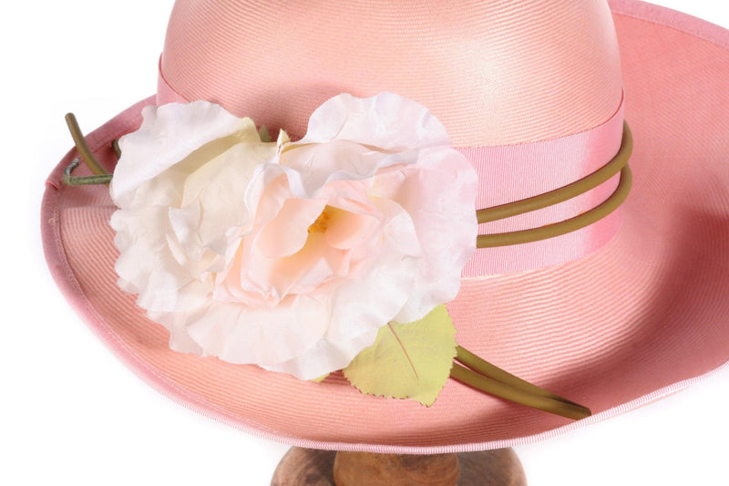 Dolores pink summer hat with flowers side