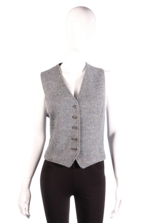 Burberry tweed wool waistcoat size M blue and grey