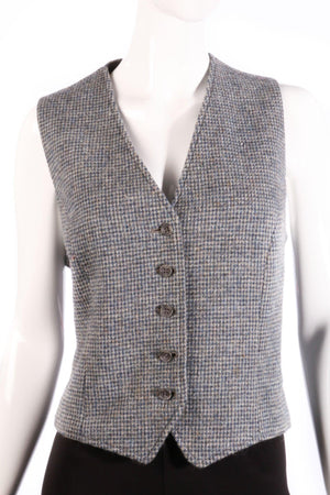 Burberry tweed wool waistcoat size M blue and grey detail