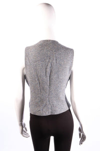 Burberry tweed wool waistcoat size M blue and grey back