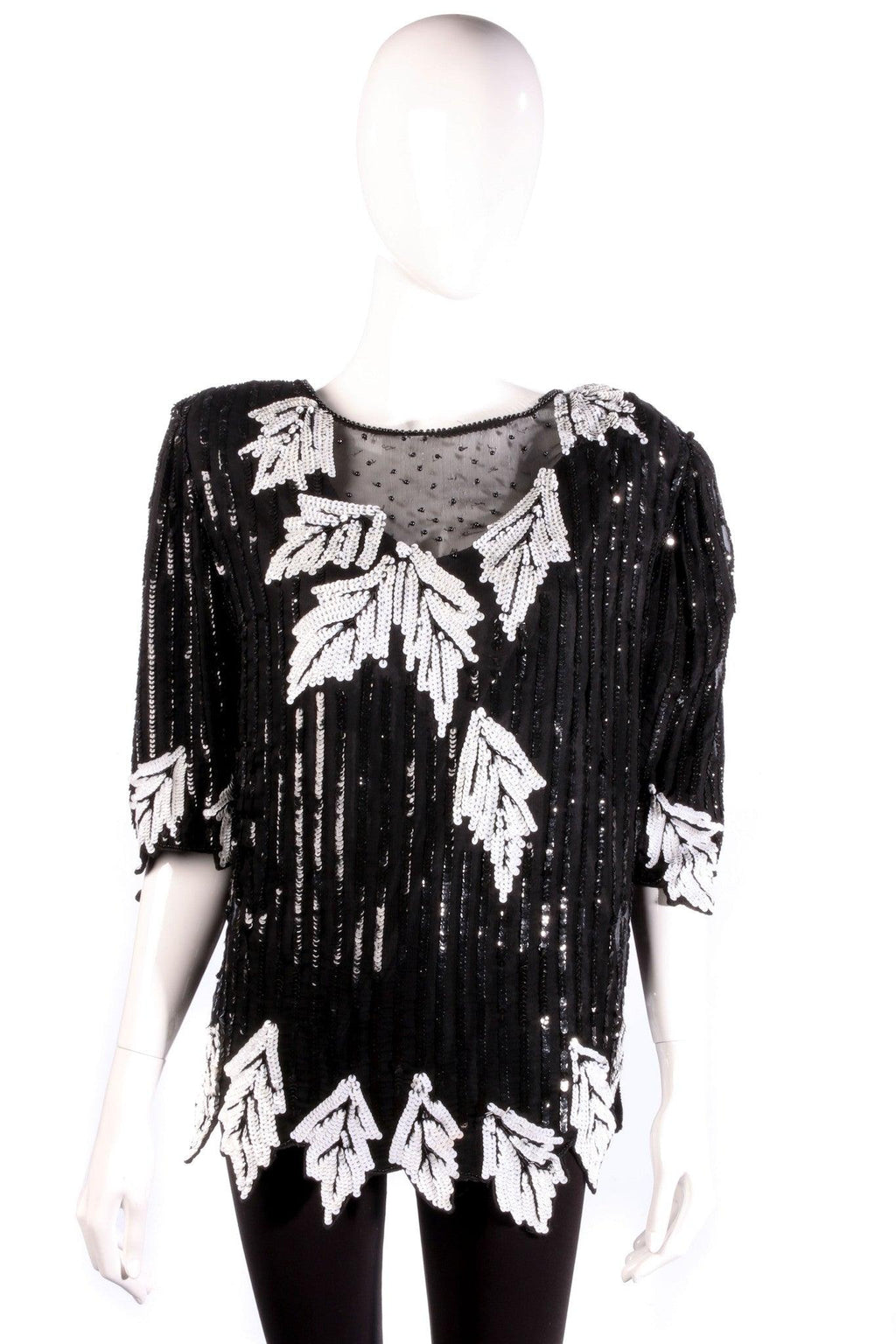 Fank Usher black and white sequin top