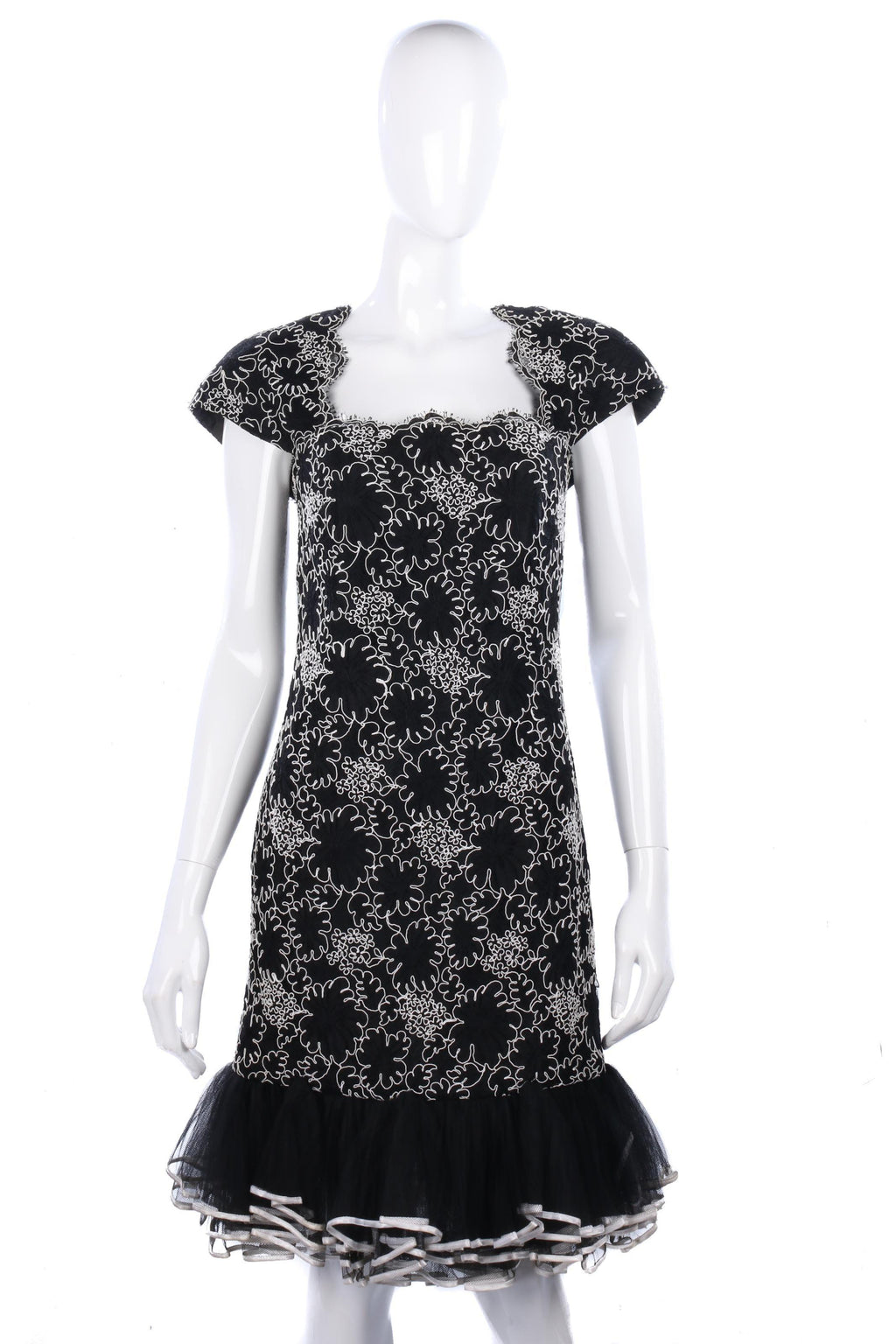 Fabulous black and white lace evening dress size S