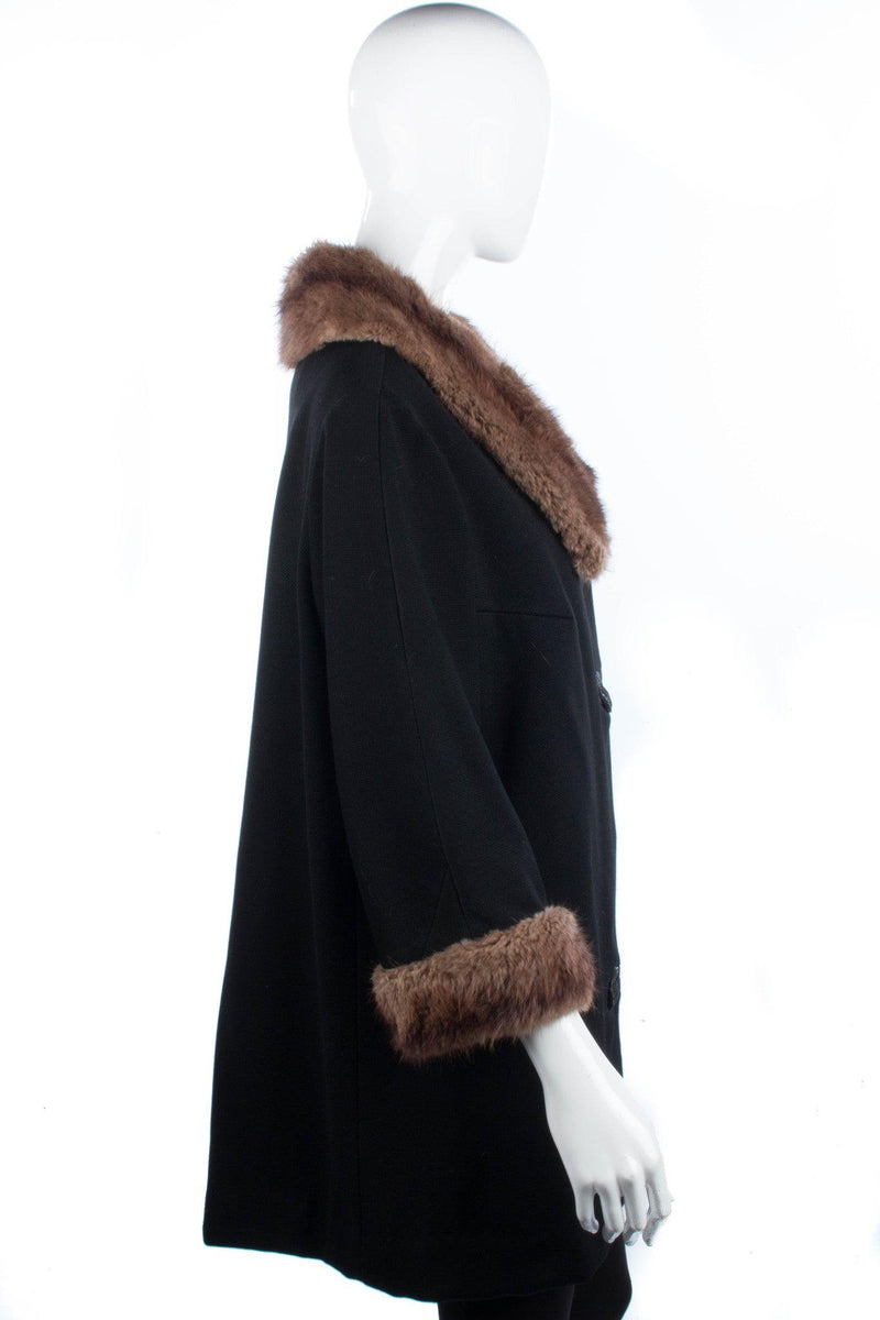 Vintage Mink collared and cuffed black vintage jacket