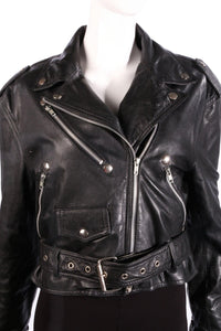 black leather biker jacket detail