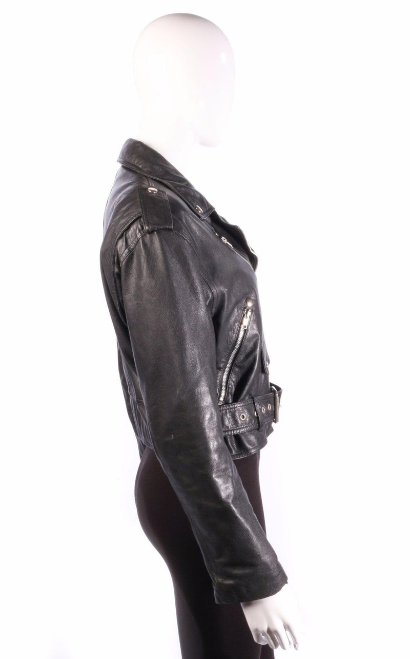 black leather biker jacket side