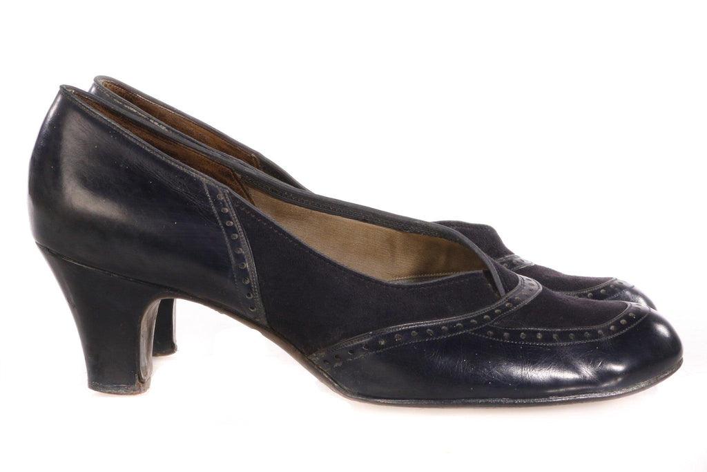 Vedette by Church Dark blue Vintage Leather Heeled Shoes US size 9AA (UK 7)