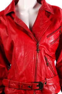 Red leather flying jacket size 12/14
