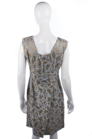 John Selby Vintage 1950's Dress Grey and Gold Size 40