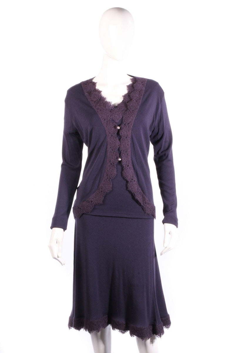 Bella de Notte three piece skirt top and cardigan aubergine size 12/14 Italian merino wool