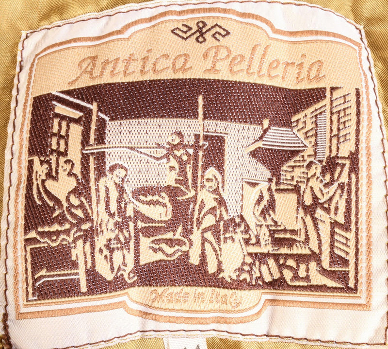 Antica Pelleria brown leather jacket label
