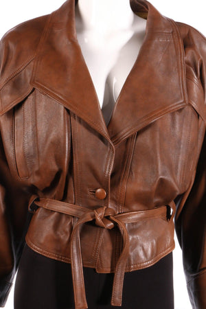 Antica Pelleria brown leather jacket detail