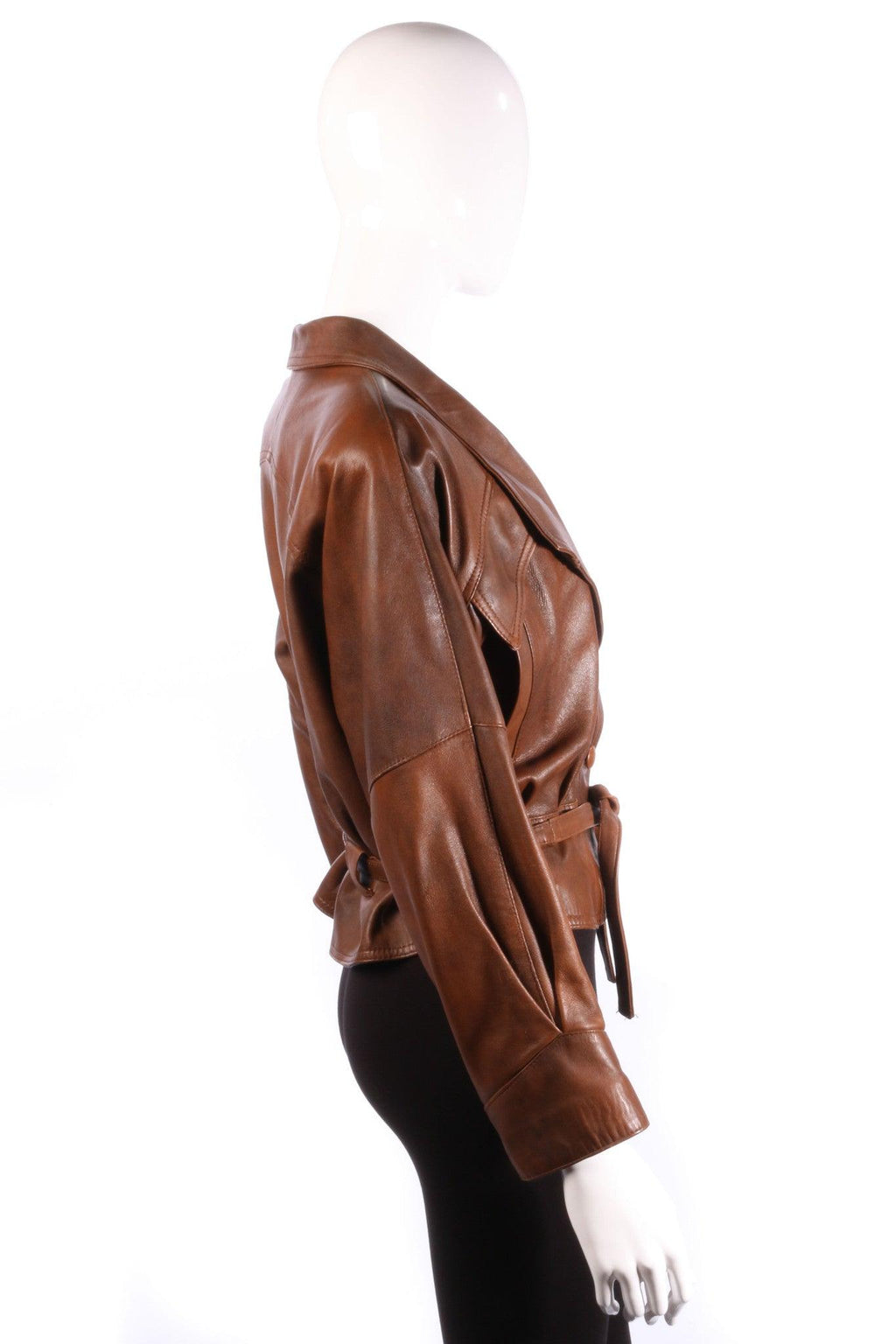 Antica Pelleria brown leather jacket side