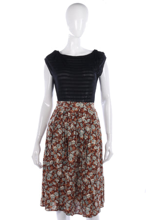Anne Brooks Vintage Skirt Brown Floral Design Size 10