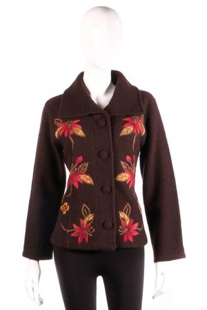 Brown cardigan with red flowers