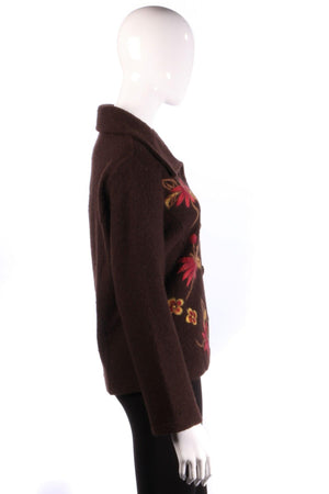 Brown cardigan with red flowers side