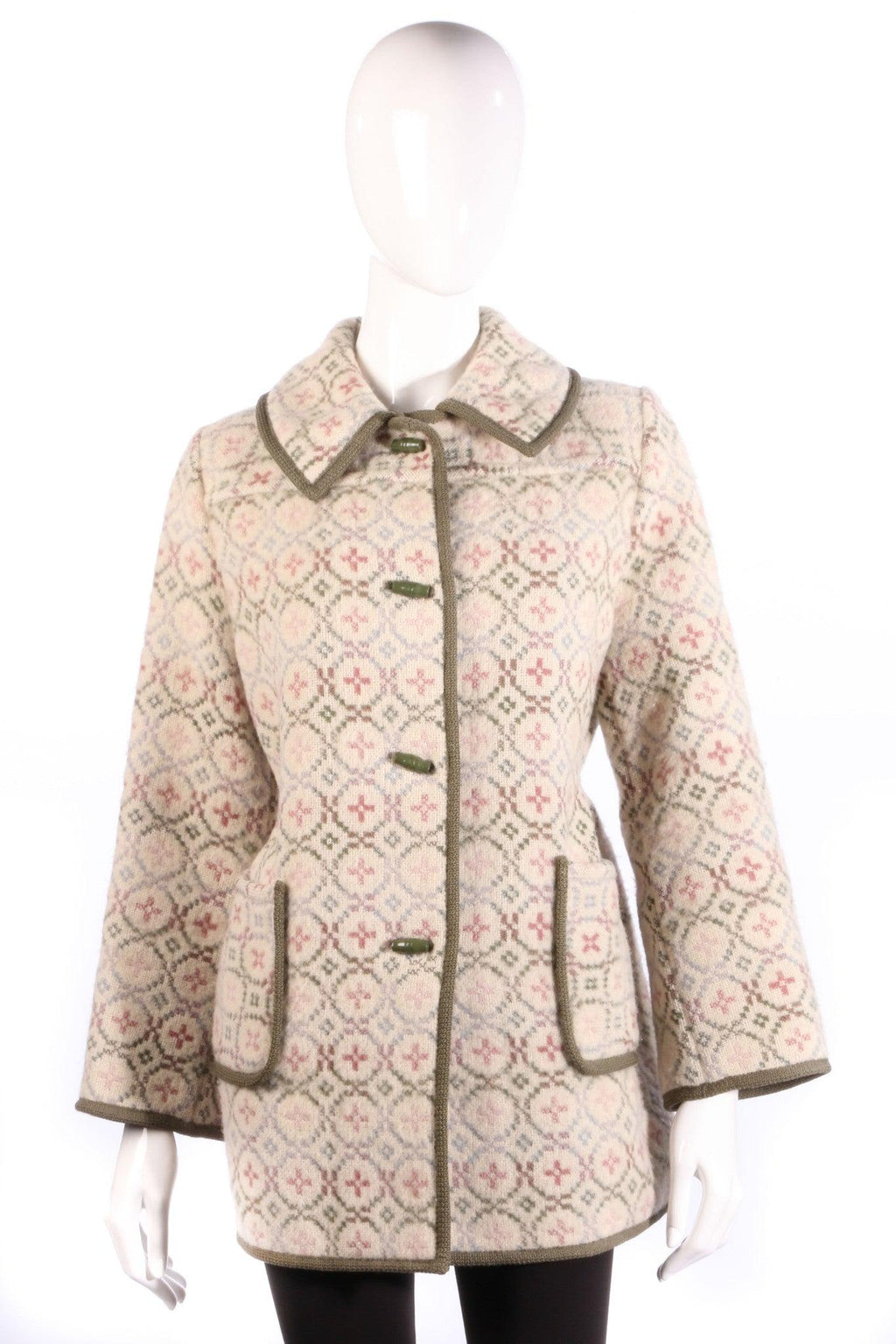 Vintage Welsh Wool Jacket Cream with Pink and Green Size 14/16