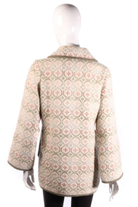 Fabulous welsh wool jacket size S/M cream with pink and green pattern