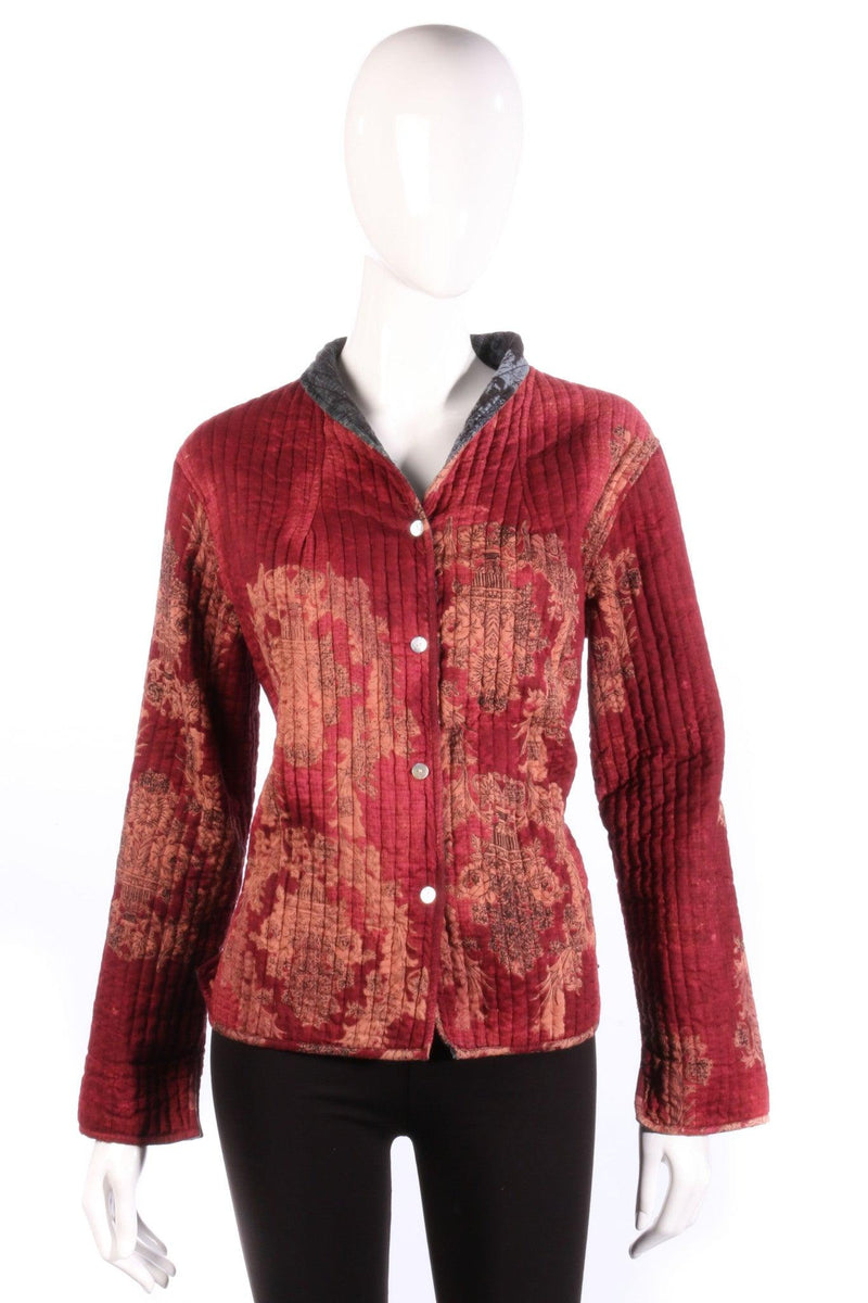 Grey and red reversible jacket with floral print red