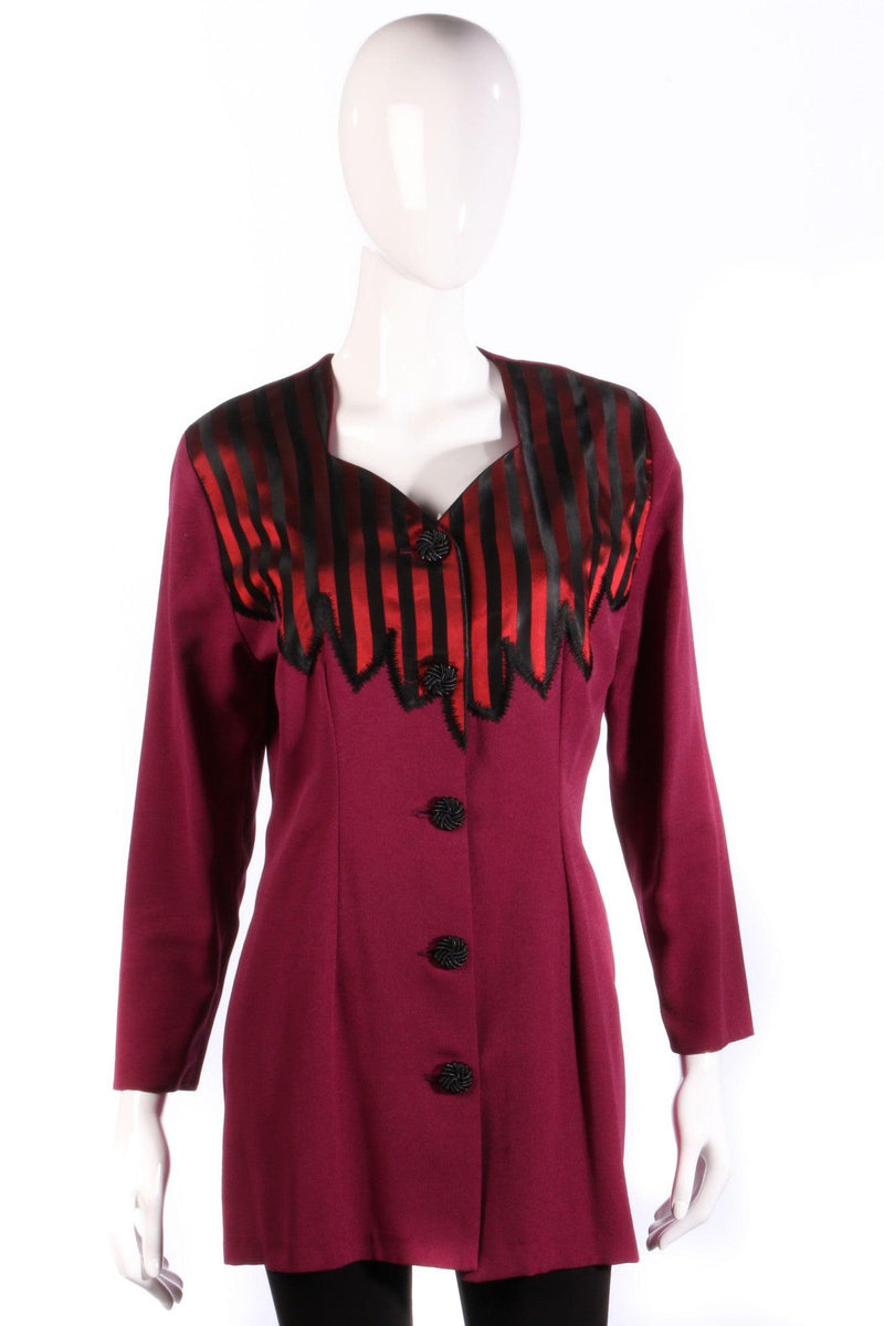 Anna Marie pink jacket with red and black stripes front