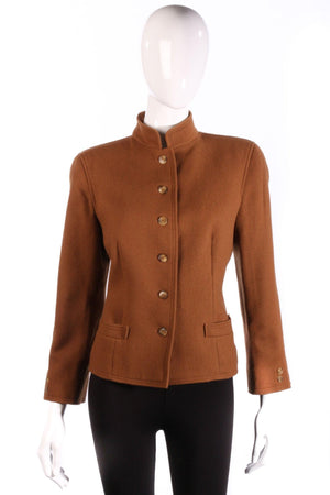 Jaeger Jacket with Rounded Collar Wool and Camelhair Brown Size 12