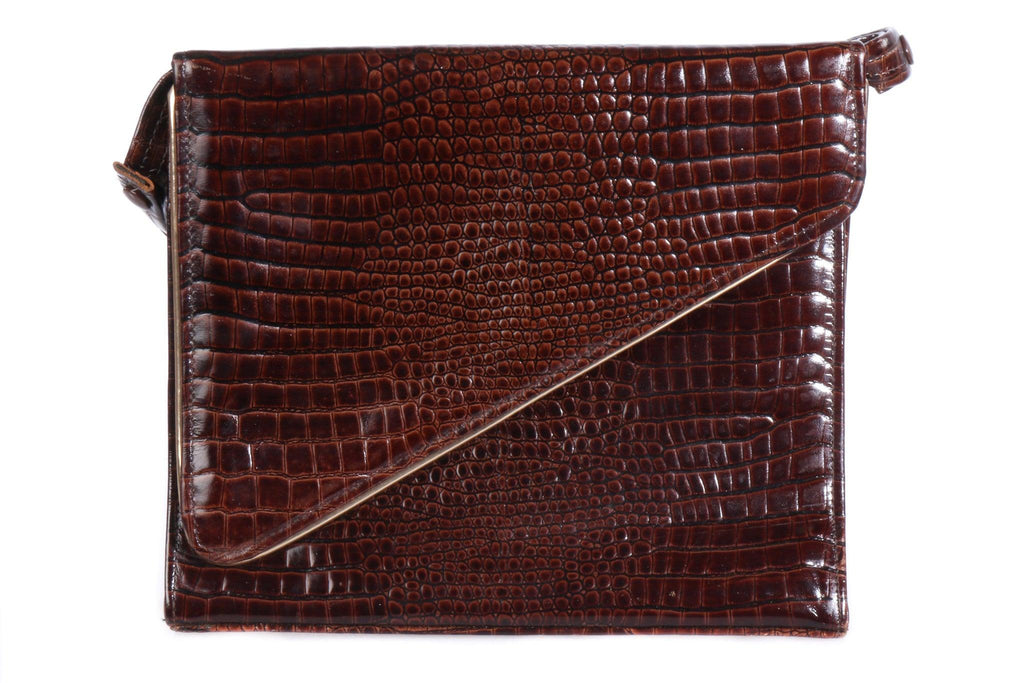 Bally brown croc leather handbag