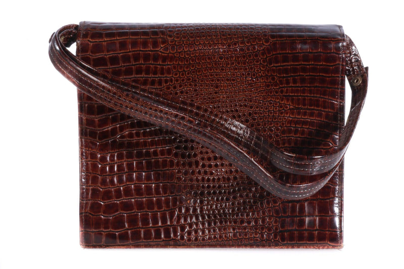 Bally brown croc leather handbag back