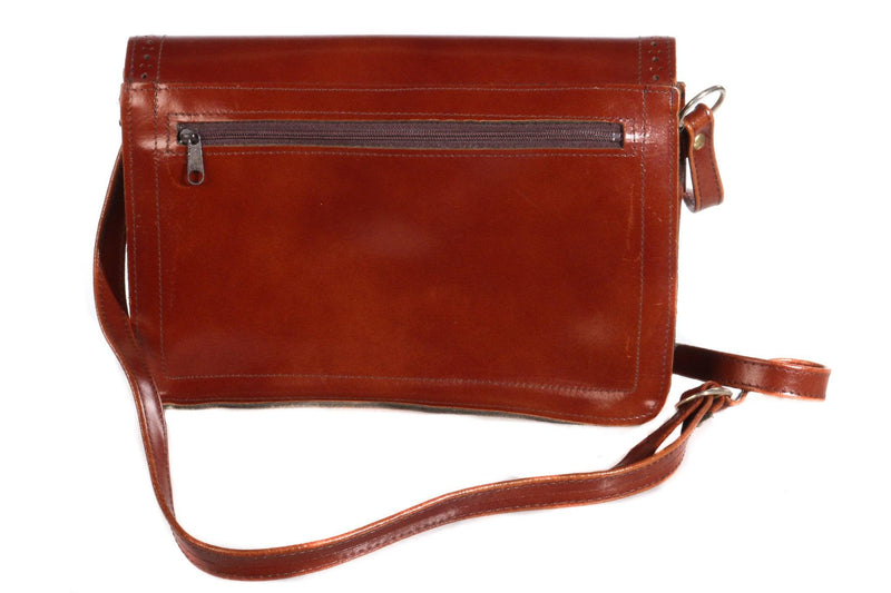 Satchel style leather bag back