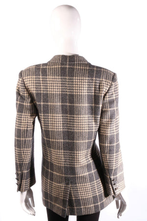 Grey Jaeger checked jacket back