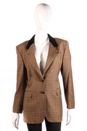 Austin Reed Jacket Wool with Velvet Collar Brown Check UK Size 10
