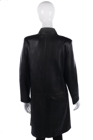 Marks and Spencer Full Length Soft Leather Coat Black Size 12