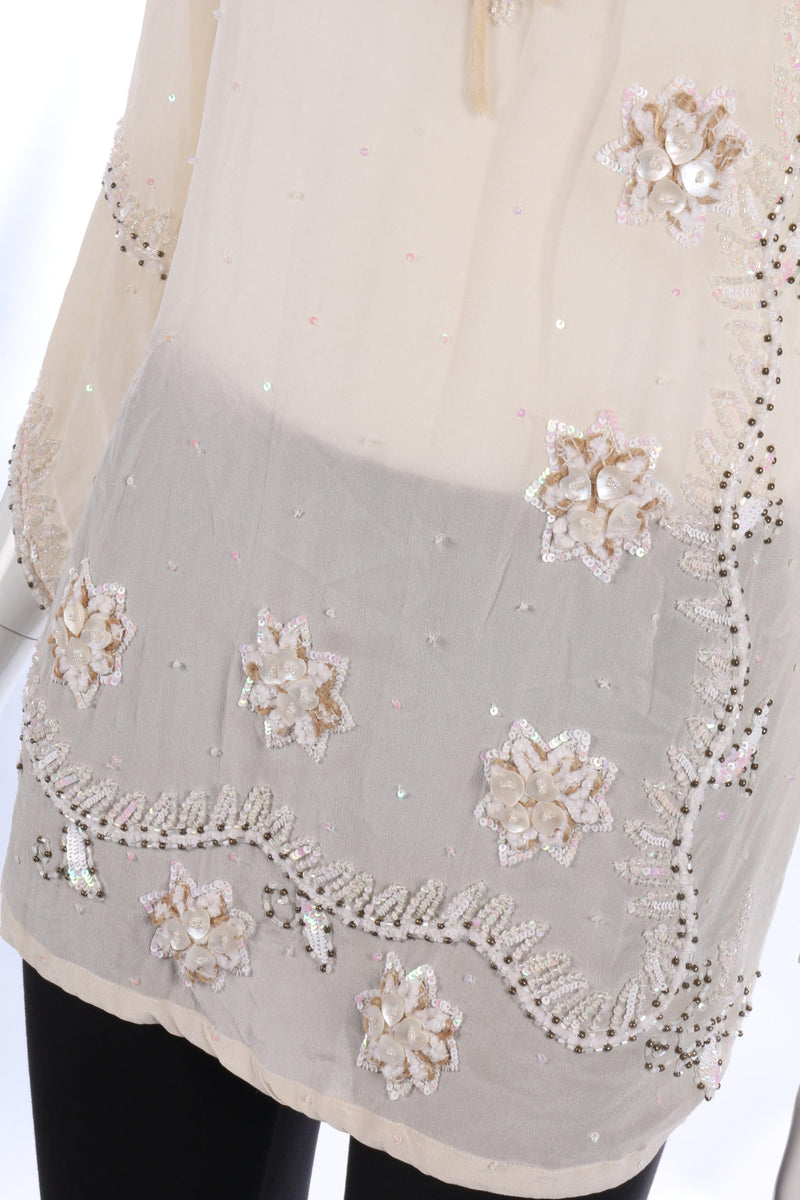 Vintage Cream Silk Beaded Summer Top Size L