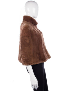 Vintage 1960's very soft rabbit cape, mid brown
